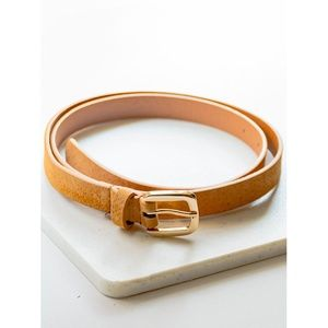 Accessories - •||NEW||• SKINNY GOLD BUCKLE BELT – CAMEL
